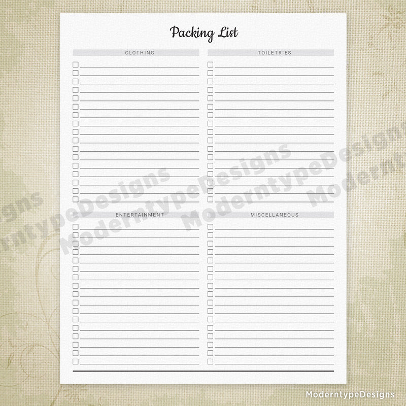 Packing List Planner Printable