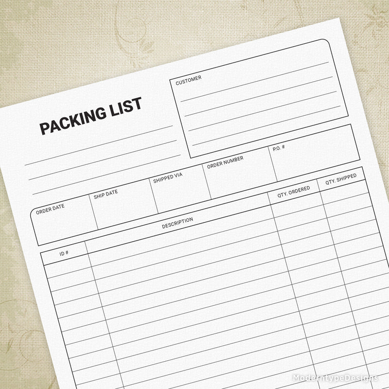 Packing List Printable Form