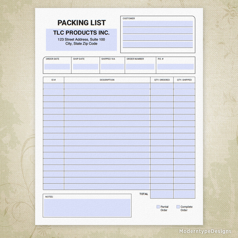 Packing List Printable Form (editable)