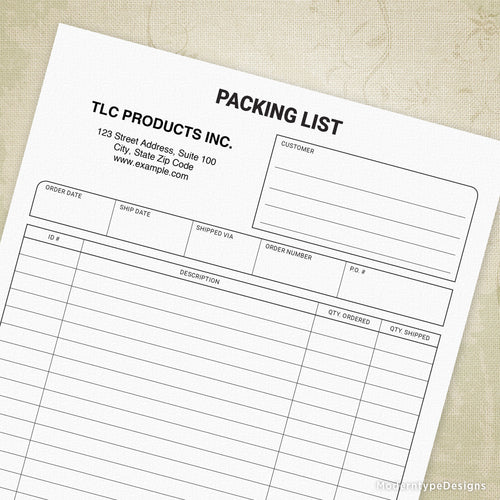 Packing Slip Printable Form (editable)