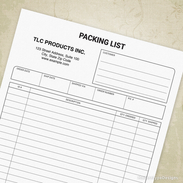 Packing List Printable Form (personalized)