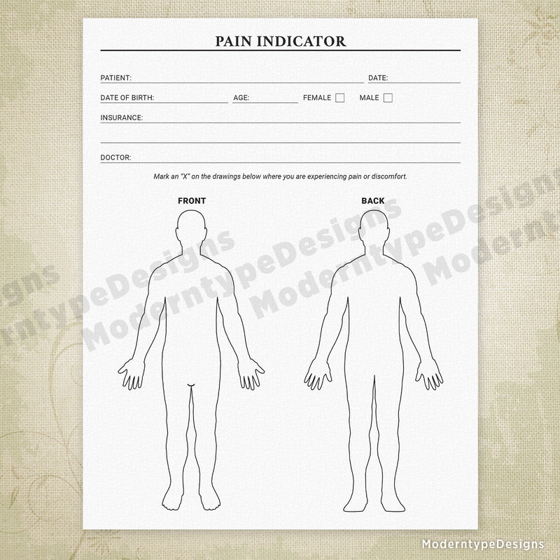 Pain Indicator Form Printable
