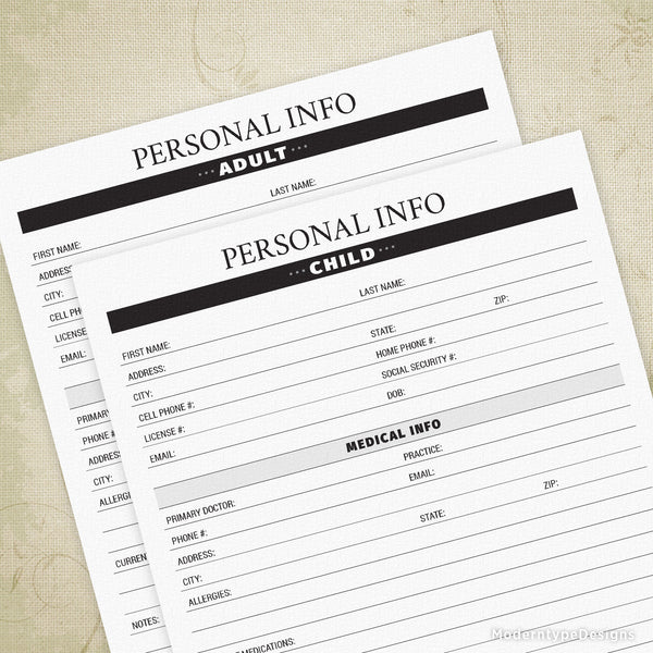 Personal Info Printable - End of Life
