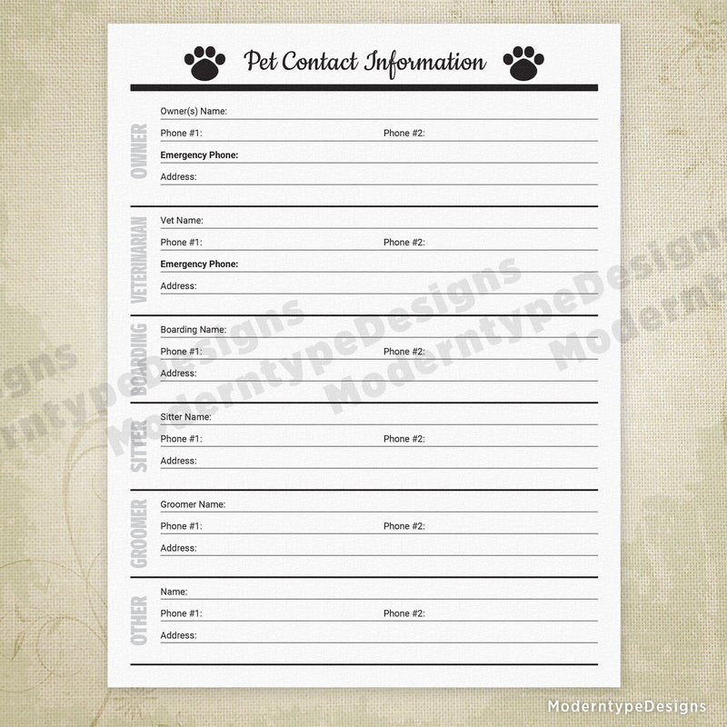 Pet Contact Info Printable for Pet Owners & Businesses