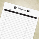 Pet Expenses Log Printable for Pet Owners