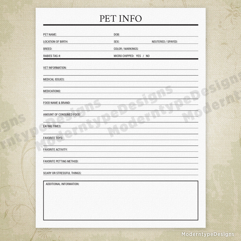 Pet Info Printable - End of Life