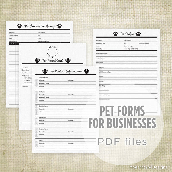 Pet Forms Printable Kit for Businesses