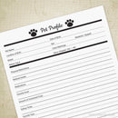 Pet Profile Printable for Pet Owners & Businesses