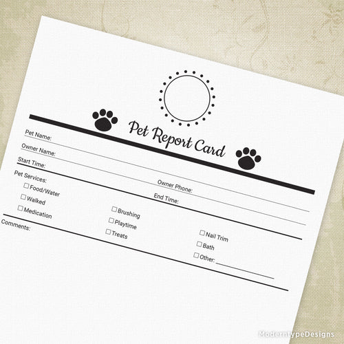 Pet Report Card Printable Form for Pet Businesses