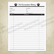 Pet Forms Printable Kit for Pet Owners