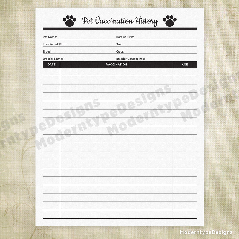 Pet Vaccination History Printable Form for Pet Owners & Businesses