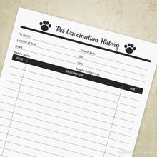 Load image into Gallery viewer, Pet Vaccination History Printable Form for Pet Owners & Businesses