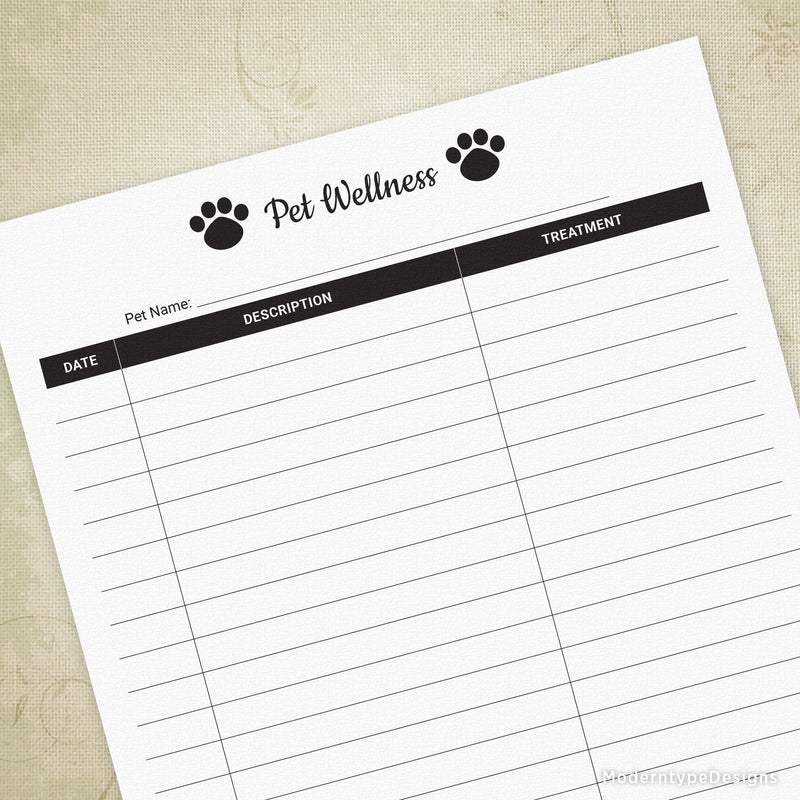 Pet Wellness Log Printable for Pet Owners
