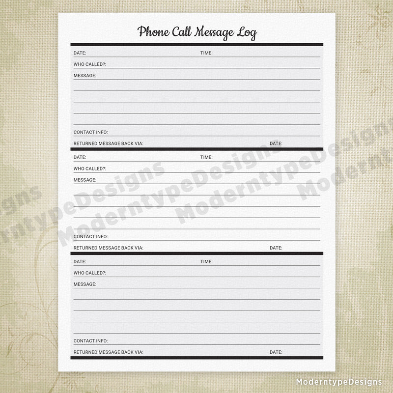 Phone Call Message Log Printable