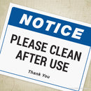 Please Clean After Use Printable Sign