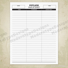 Load image into Gallery viewer, Potluck Sign Up Sheet Printable