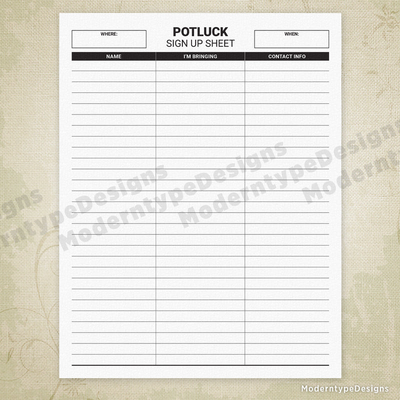 Potluck Sign Up Sheet Printable