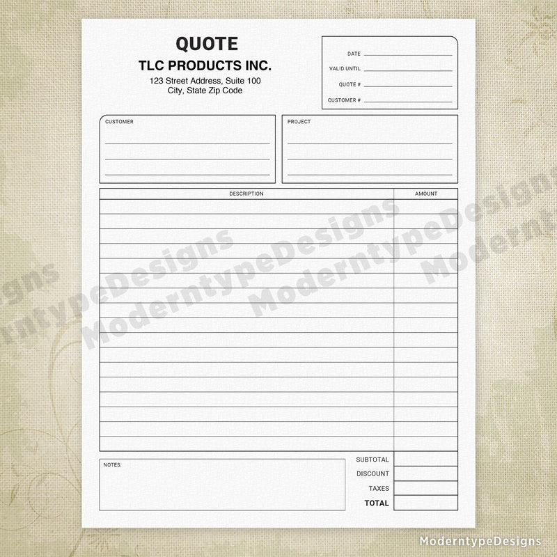 Price Quote Printable Form with Lines (editable)