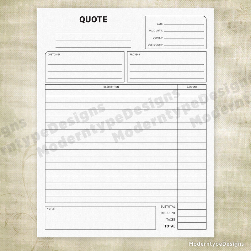 Price Quote Printable Form with Lines