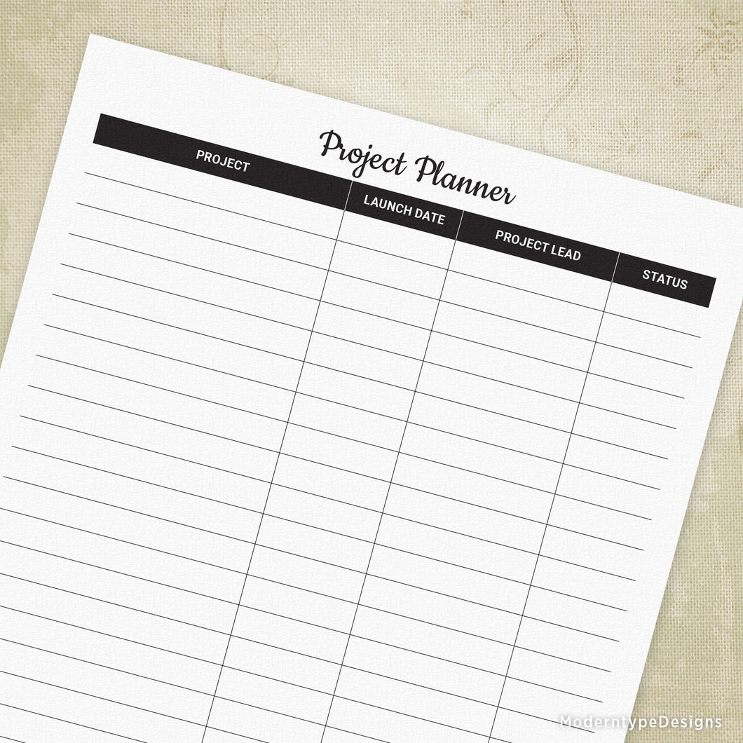 Simple Project Planner Printable