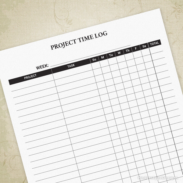 Project Time Log Printable