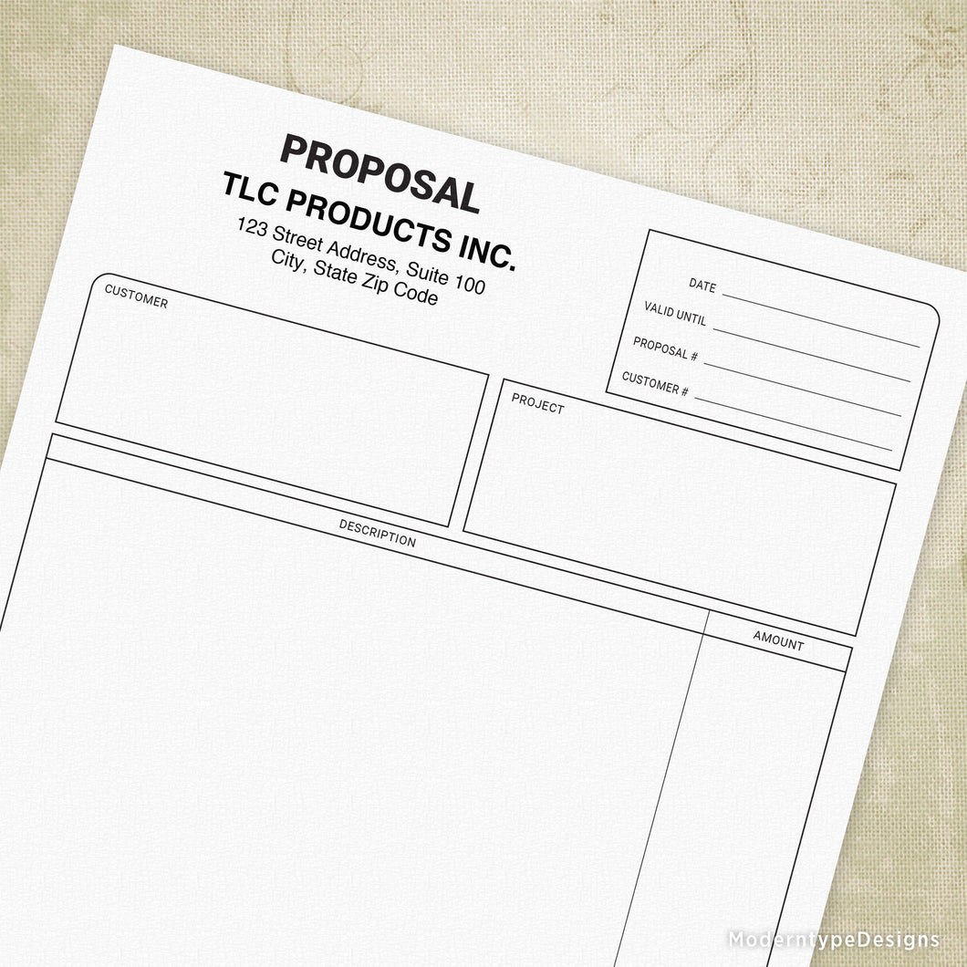 Proposal Printable Form (editable)