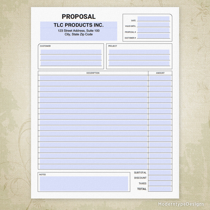 Proposal Printable Form with Lines (editable)