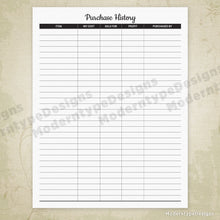 Purchase History Printable