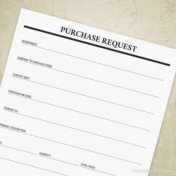 Purchase Request Printable