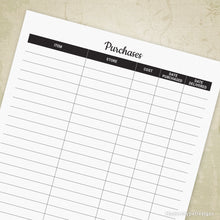 Purchases Tracker Printable