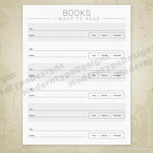 Books I've Read Printable, Books I Want to Read