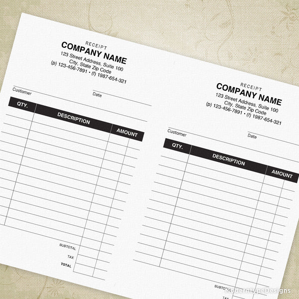 Receipt Printable (editable) for 5.5 x 8.5, Half Sheet