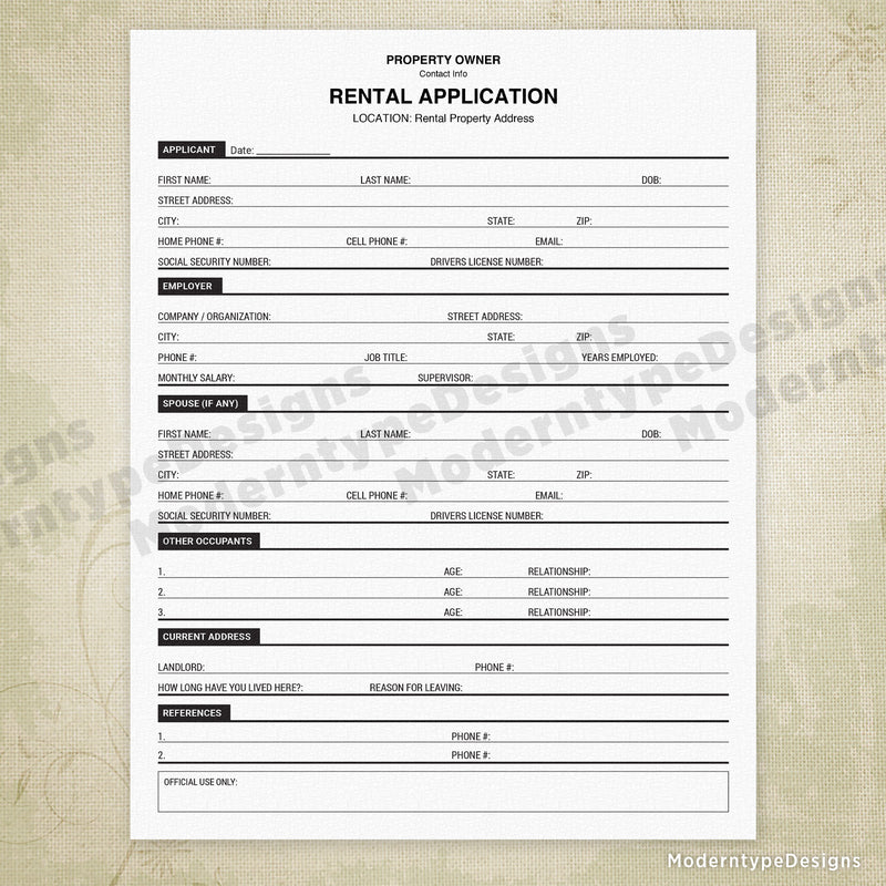 Rental Property Application Printable (personalized)