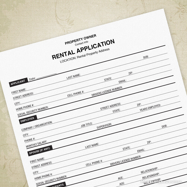 Rental Property Application Printable (editable)