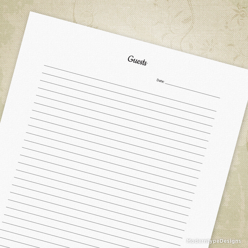 Rental Property Guest Comment Log Printable