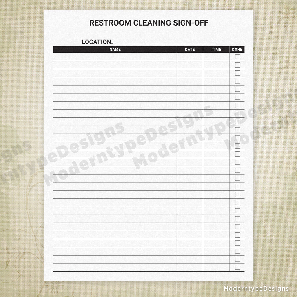 Restroom Cleaning Sign-off Sheet Printable