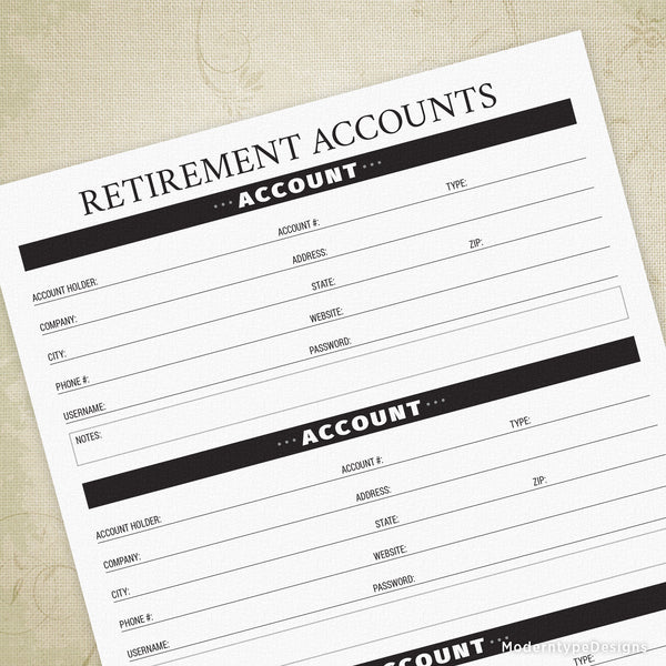 Retirement Accounts Printable