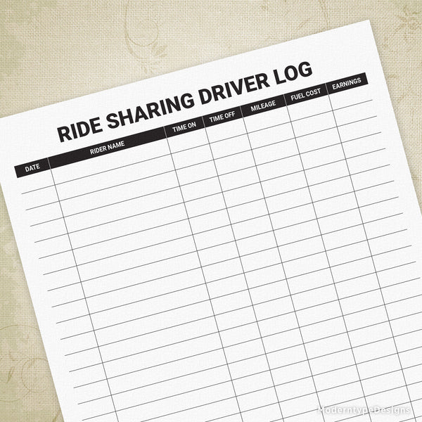 Ride Sharing Driver Log Printable (editable)