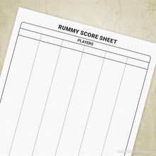 Load image into Gallery viewer, Rummy Scoring Sheet Printable Form