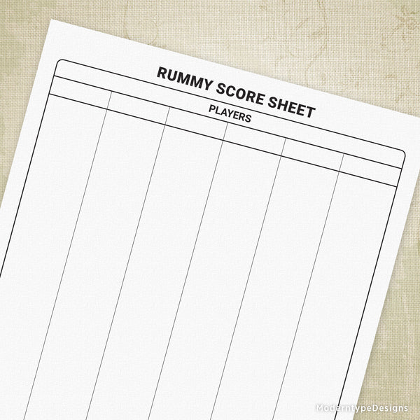 Rummy Scoring Sheet Printable Form
