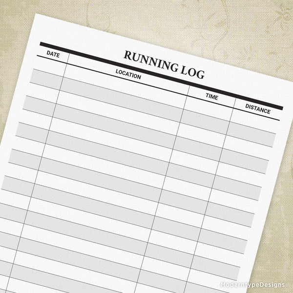 Running Log Printable for Runners