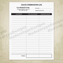 Sales Commission Log Printable Form (editable)
