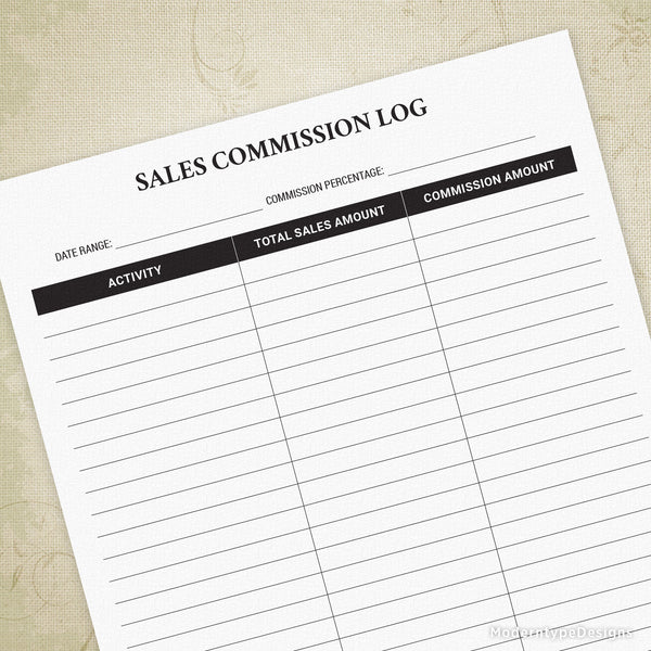 Individual Sales Commission Log Printable Form
