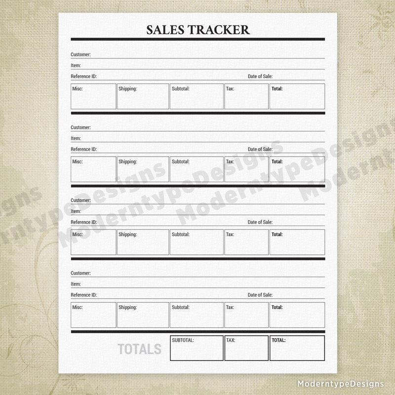 Sales Tracker Printable
