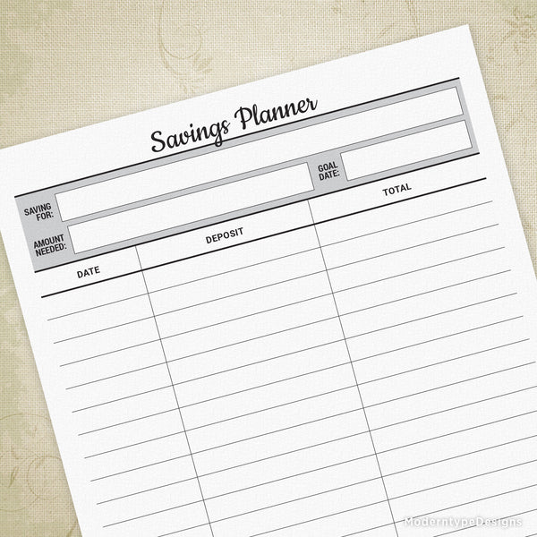 Savings Planner Printable
