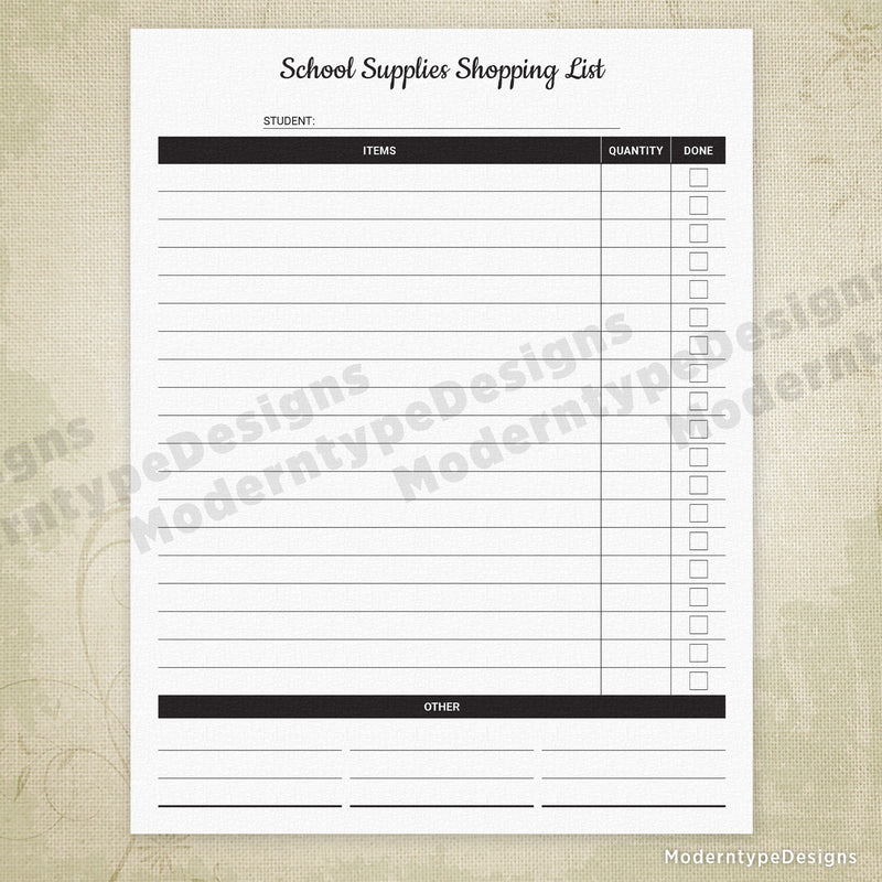 School Supplies Shopping List Printable