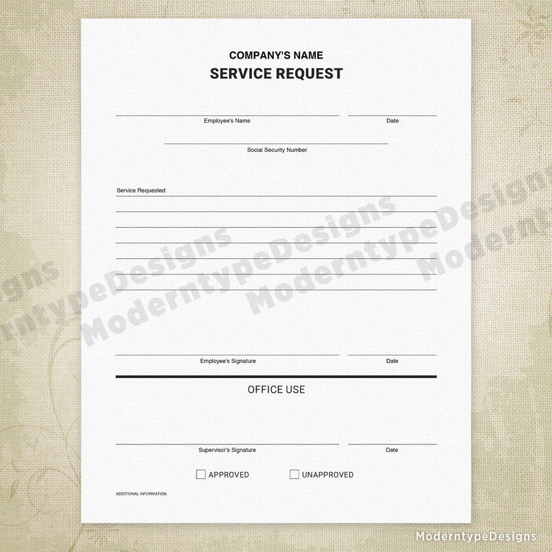 Service Request Printable Form for Business Boss (editable)