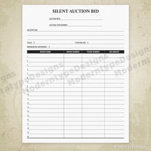 Load image into Gallery viewer, Silent Auction Bid Sheet Printable (editable)