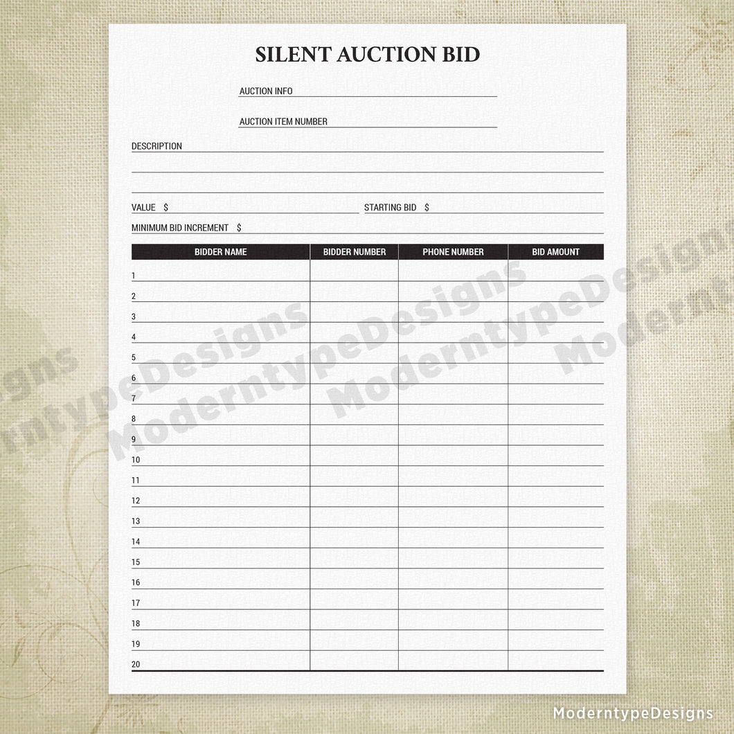 picture relating to Printable Silent Auction Bid Sheet named Tranquil Auction Bid Sheet Printable (editable) Moderntype