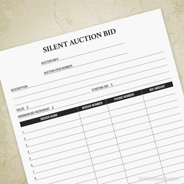 Silent Auction Bid Sheet Printable (editable)